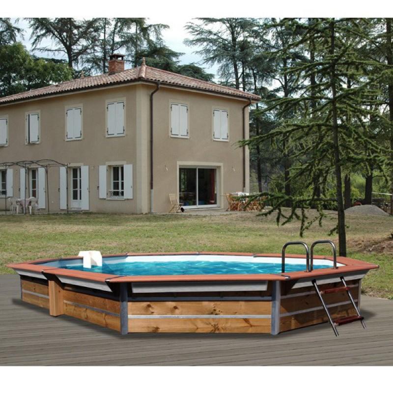 piscine bois water 39 clip optimum hexagonale allong e tasos. Black Bedroom Furniture Sets. Home Design Ideas