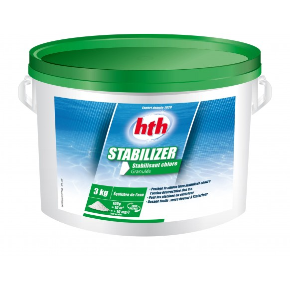 Stabilisant chlore hth stabilizer granul s 3 kg for Chlore hth piscine