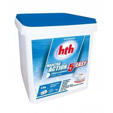 MAXITAB ACTION 5 EASY HTH Désinfection régulière multifonction piscine galets 200 g.