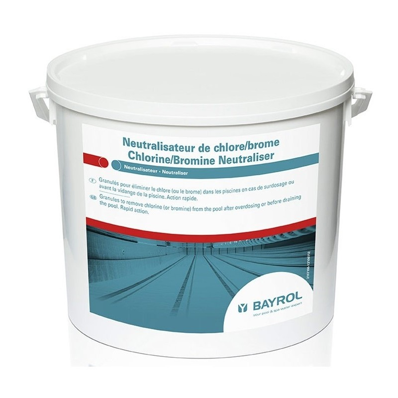 Traitement piscine bayrol neutralisateur chlore brome for Piscine au sel ou au chlore