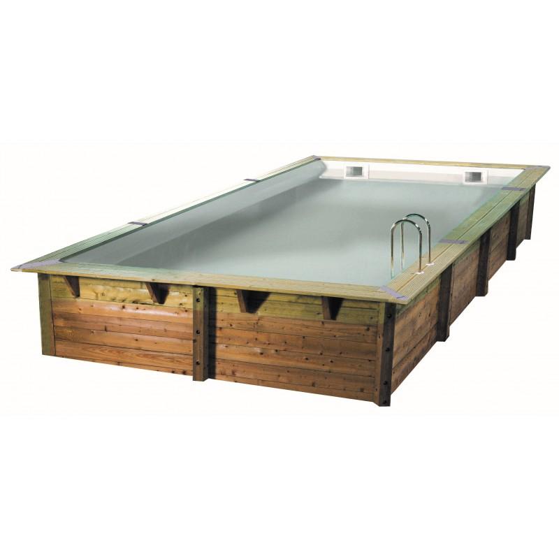 Piscine rectangulaire bois ubbink lin a 350 x 650 for Piscine bois linea