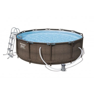 Kit Piscine Tubulaire Ronde Steel Pro Frame Pools Bleue D 366cm h 100cm - Imitation Tressé