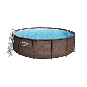 Kit Piscine Tubulaire Ronde Power Steel Frame Pools D 427cm h 107cm- Imitation Tressé