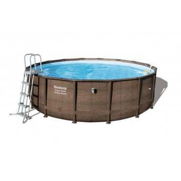 Kit Piscine Tubulaire Ronde Power Steel Frame Pools D 488cm h 122cm- Imitation Tressé