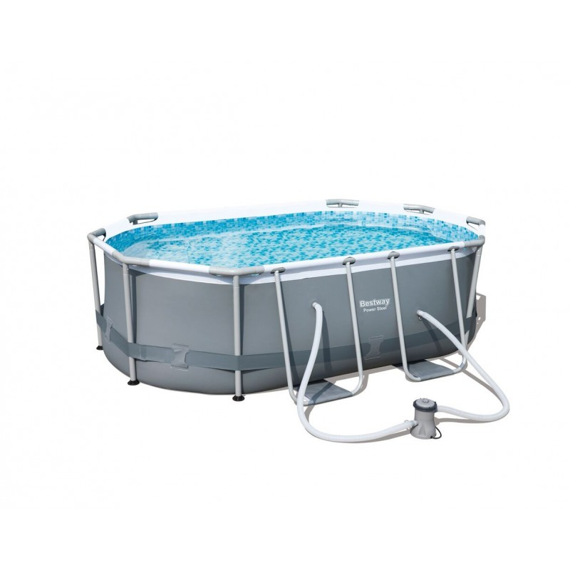 ... Piscine Tubulaire Ovale Power Steel Frame Pools L 300cm L 200cm H 84cm