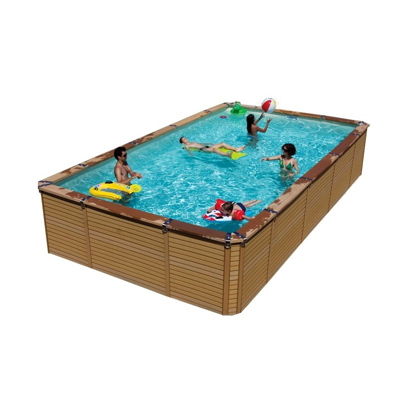 Kit piscine en bois azteck by waterman for Piscine hors sol rectangulaire 4x3