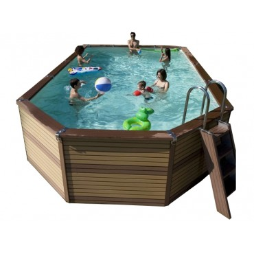 Kit piscine mixte hors sol Azteck by Waterman 4 m x 7,30 m
