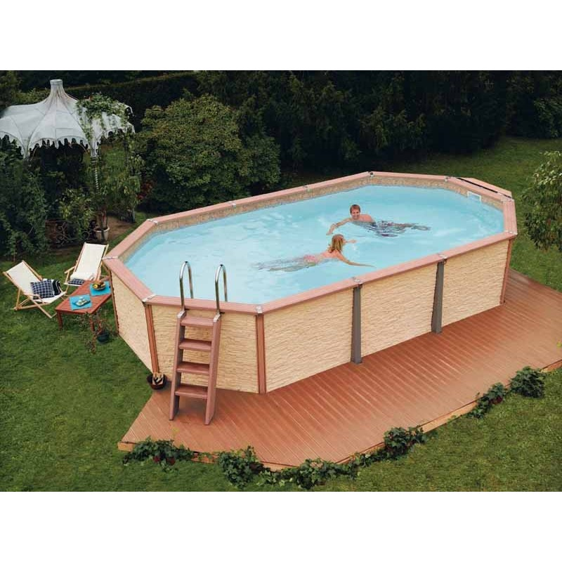 Kit piscine en bois azteck by waterman for Kit piscine semi enterree