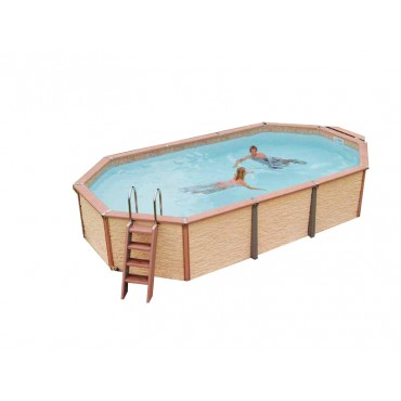 Kit piscine ovale semi-enterrée Azteck by Waterman 4,00 m x 7,30 m