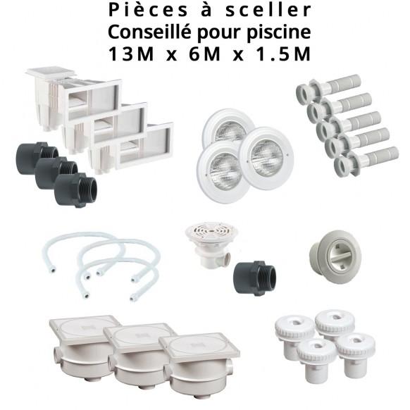 Kit Pièces à Sceller Béton Liner, Piscine 13 X 6,00 M, Couleur Au Choix