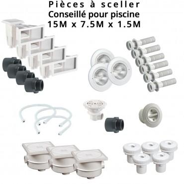 Kit pièces à sceller liner béton pour piscine 15,00 x 7,50 m