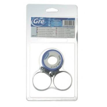 Kit d'étanchétié GRE, Teflon et 4 colliers de serrage inox pour tuyaux Ø 32/38 mm