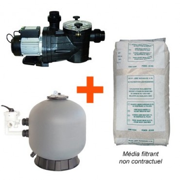 Kit Filtration Piscine (Pompe + filtre + sable) Vipool