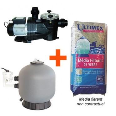 Kit Filtration Piscine (Pompe + filtre + verre) Vipool